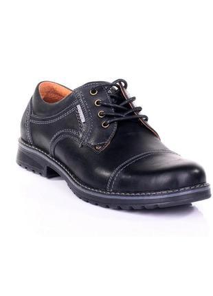 Чоловічі шкіряні туфлі, чорні / мужские кожаные туфли, черные, city usa black