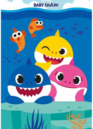 Флисовый детский плед baby shark - беби шарк - оригинал pinkfong