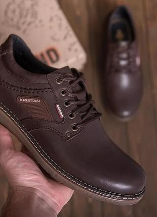 Чоловічі шкіряні туфлі, коричневі / мужские кожаные туфли, коричневые, kristan brown
