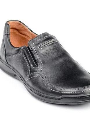 Чоловічі шкіряні туфлі, чорні / мужские кожаные туфли, черные, comfort walk black