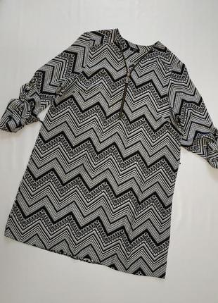 F&f платье блуза в абстракцию под пояс   46(14-18)