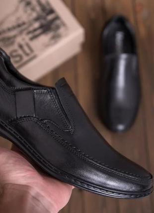 Чоловічі шкіряні туфлі, чорні / мужские кожаные туфли, черные, matador officer shoes