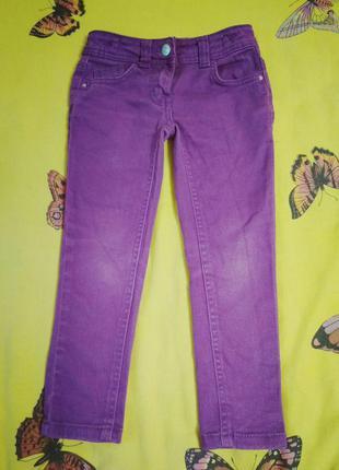 Фиолетовые плотные джинсы с утяжкой на 5 лет.