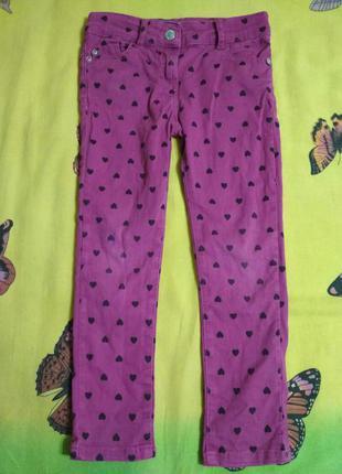 Джинсы фиолетового цвета с утяжкой denim co на 4-5 лет.