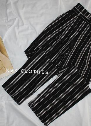 Брюки штаны в полоску на высокой посадке с поясом new look