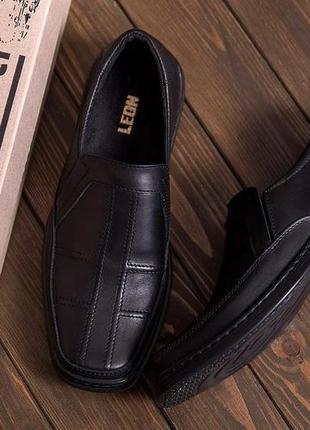 Чоловічі шкіряні туфлі, чорні / мужские кожаные туфли, черные, leon clasic shoes
