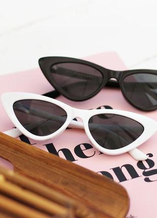Уценка! очки окуляри лисички солнцезащитные сонцезахисні чорні черные тренд 2021 кошачий глаз кошка