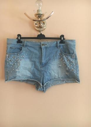 Батал большой размер стильные рваные джинсовые шорты шортики штаны