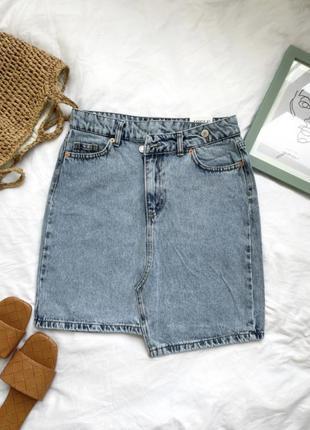 Крутая джинсовая юбка синий цвет