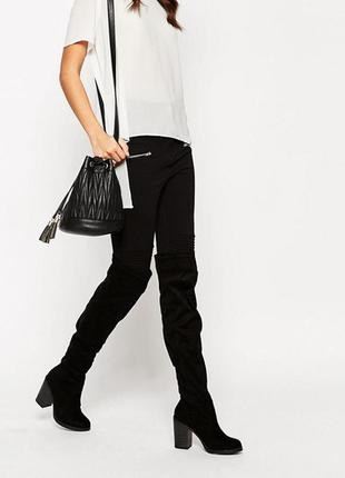 Сапоги чулки ботфорты на устойчивом каблуке new look