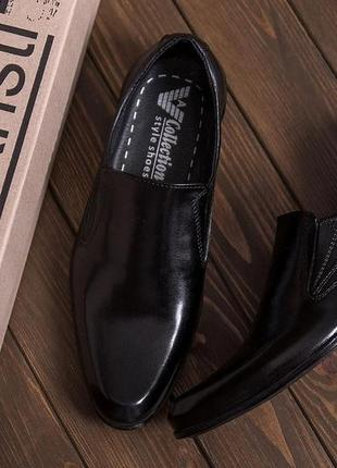 Чоловічі шкіряні туфлі, класичні чорні / мужские кожаные туфли, классические черные, ava de lux