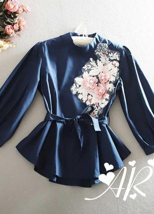 Блуза синяя женская блузка коттон