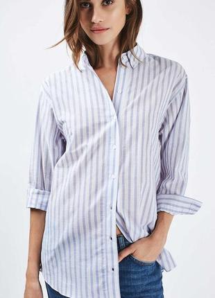 Удлиненная хлопковая полосатая длинная рубашка оверсайз в полоску из тонкого хлопка