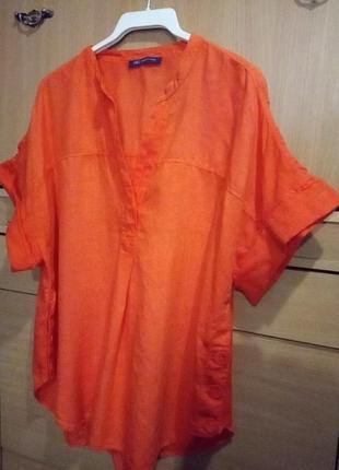 Брендовая туника из льна цвета апельсина
