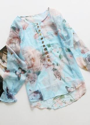 Легкая блуза в принт цветы