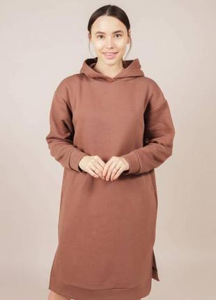 Платье-худи на флисе с разрезами