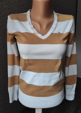 Пуловер кофта джемпер tommy hilfiger в полоску коттоновая