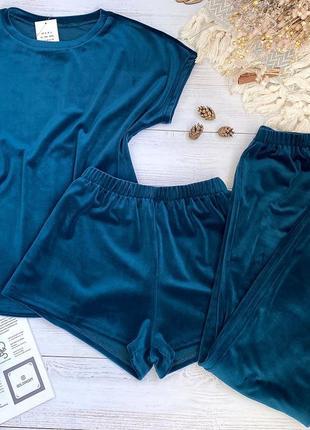 Плюшевая пижама тройка, домашний костюм футболка, шорты, штаны, спортивный костюм