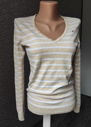 Пуловер кофта в полоску нюдовая коттоновая tommy hilfiger