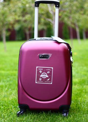 Супер цена! средний чемодан пластиковый бордовый марсала валіза полікарбонат середня