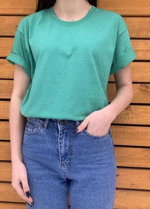 Зеленый меланж базовая футболка прямого свободного кроя как оверсайз