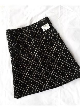 Чёрная юбка трапеция в принт широкая клетка от f&f