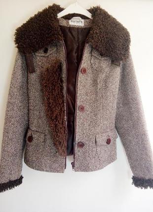 Тёплая куртка/дубленка  из буклированной шерсти цвета тауп
