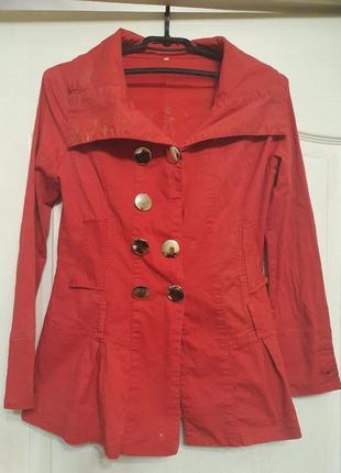 Пиджак красный без пуговицы
