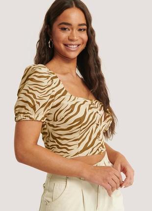 Блуза блузка топ кроп с объемными рукавами буфами на пуговицах в животный принт зебра