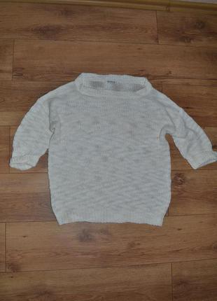 Теплый свитер крупной вязки бежевый