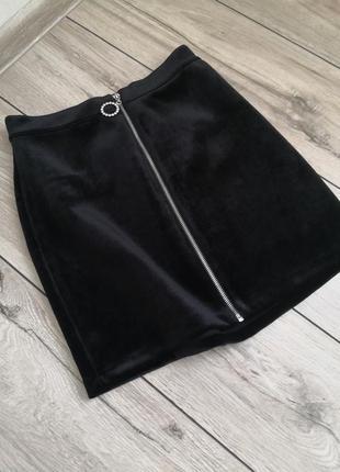 Бархатная юбка с молнией