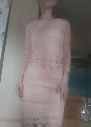 Костюм юбка и топ гипюр макраме с-ка