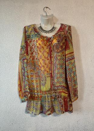 Пляжная туника шифоновая блуза яркая цветная