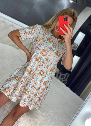 Платье летнее женское купить недорого принт миди прогулочное повседневное свободное трикотаж