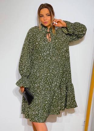 Летнее женское платье в горошек с рюшей