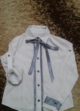 Рубашка с бантом для школы, школьная блузка
