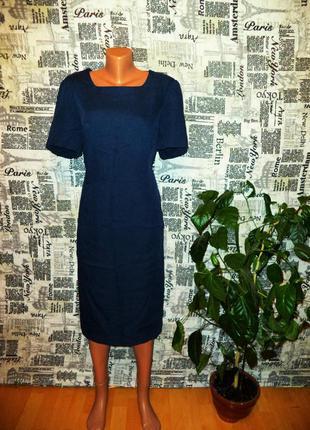 Синее матовое строгое платье футляр рр 50-52