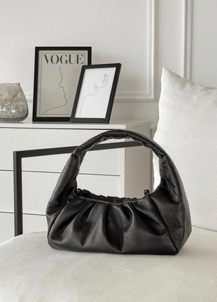 Женская черная мягкая кожаная сумка пельмень с ручкой, италия
