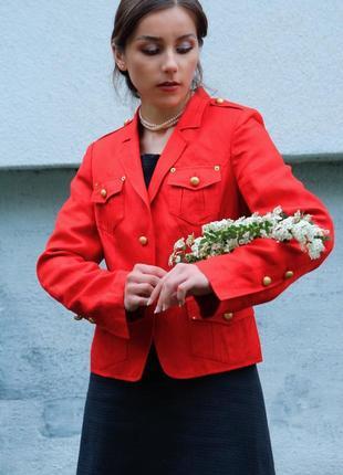 Брендовый шёлковый льняной классический пиджак жакет нарядный яркий удлиненный оверсайз