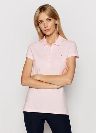 Розовая футболка-поло slim fit tommy hilfiger
