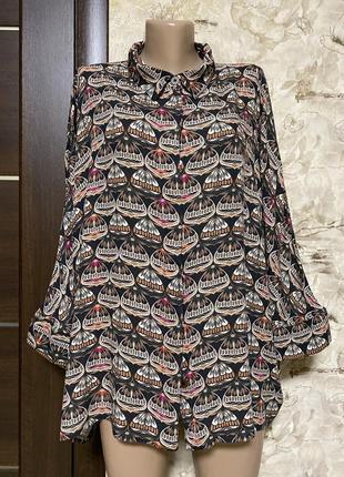 Оригинальная натуральная рубашка в принт,оверсайз la casa di loto