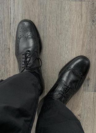 Bally кожаные туфли чёрные броги оксфорд на шнуровке оригинал 43,5 44 zegna