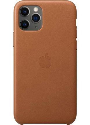 Чехол кожаный apple leather case iphone 11 saddle brown