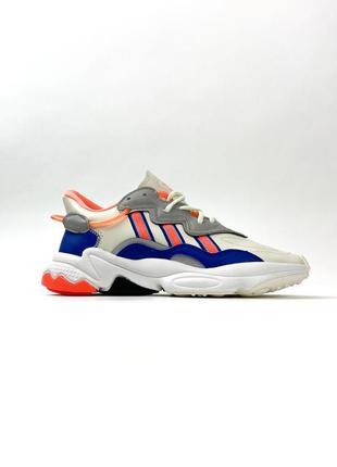 Кроссовки adidas ozweego gray red blue2 фото