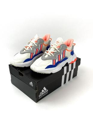 Кроссовки adidas ozweego gray red blue1 фото