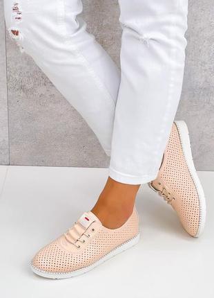Натуральная пресс-кожа, женские мокасины на шнурках, цвет пудра