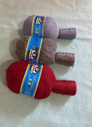 Пряжа нитки для вязания пух норки