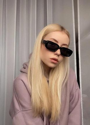 Тренд 2021 очки черные прямоугольные ретро солнцезащитные узкие окуляри чорні
