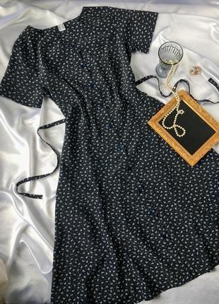 Платье винтажное миди на пуговицах с поясом винтаж в цветочный принт тренд халат