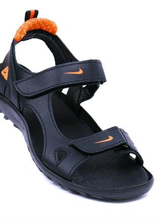 Мужские кожаные сандалии  ns orange  40 черн/оранж